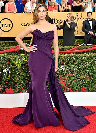 donna karan atelier, dress, gown, purple, celebrity style, red carpet, glamour