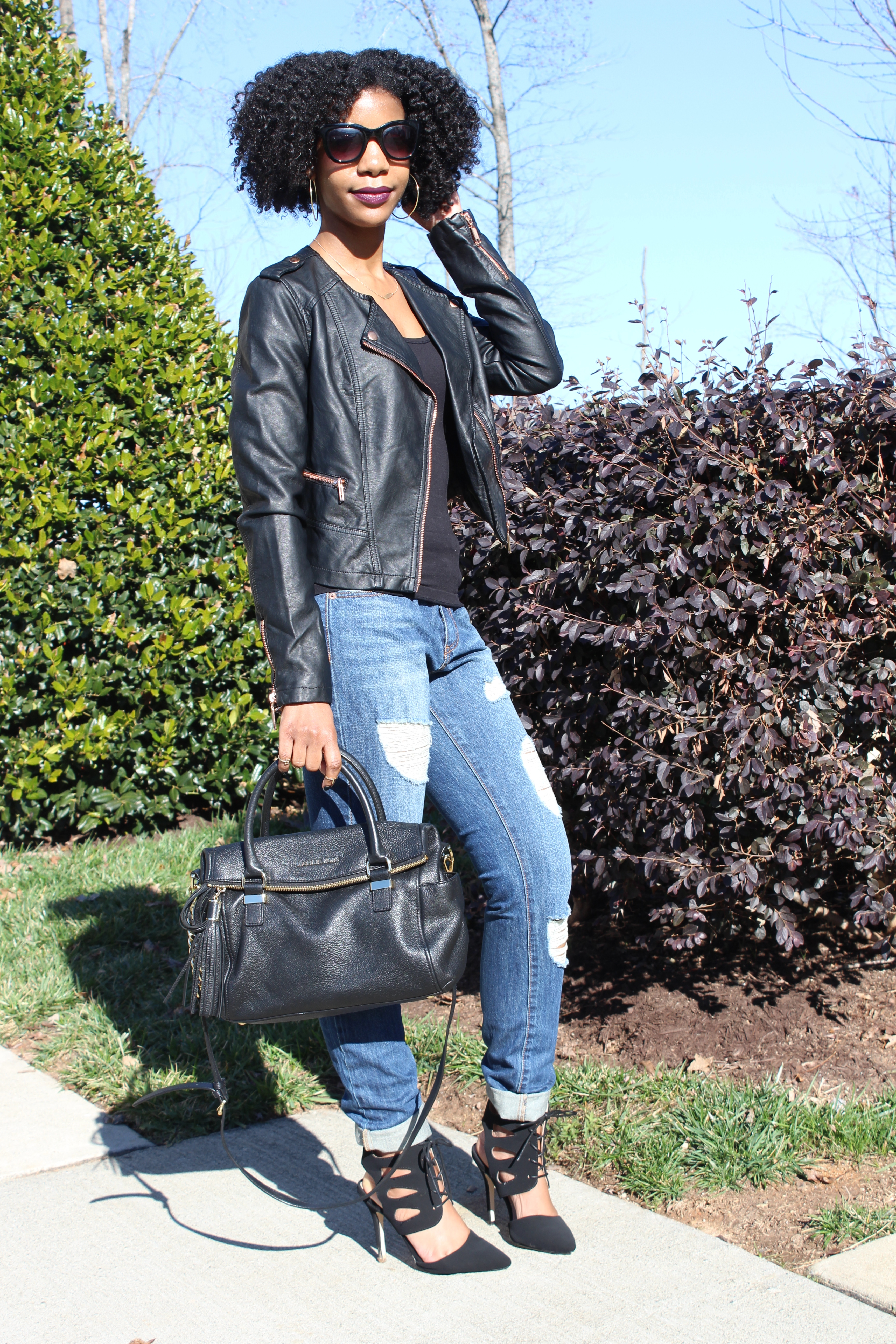 Boyfriend Jeans + Faux Leather + Plaid