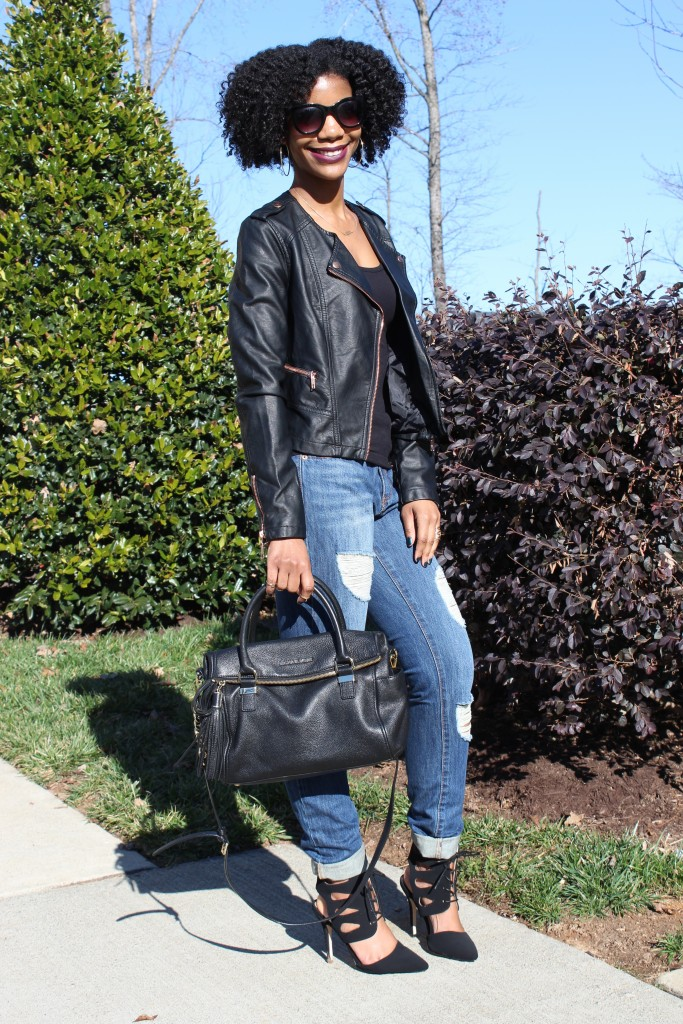 boyfriend jeans, sunglasses, natural hair, michael kors purse, faux leather collarless jacket, blogger, fashion blogger, black blogger, fashion blog, style, personal style blog