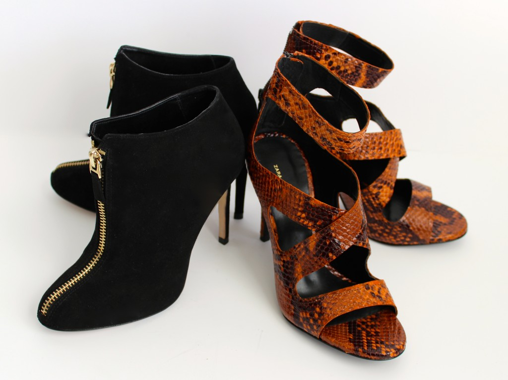 shoes, heels, black booties, gold zippered black booties, suede booties, black suede booties, zara, snakeskin sandals, snakeskin high heeled sandals, snake skin peep toe sandals, orange snake skin high heeled sandals