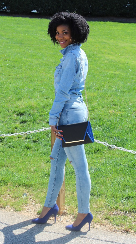 denim, distressed denim, busted knee jeans, distressed jeans, h&m, charlotte russe, dsw, forever21, stella & dot, natural hair, blogger, fashion blogger, black blogger, dc blogger, kasi perkins, the style perk