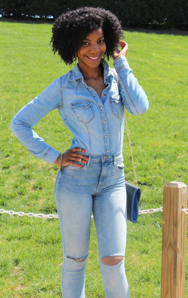 denim, distressed denim, busted knee jeans, distressed jeans, h&m, charlotte russe, dsw, forever21, stella & dot, natural hair, blogger, fashion blogger, black blogger, dc blogger, kasi perkins, the style perk