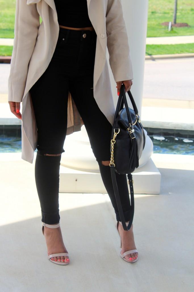 trench coat, spring fashion, kimono jacket, long line trench coat, all black, black denim, black distressed denim, natural hair, forever21, asos, natural hair