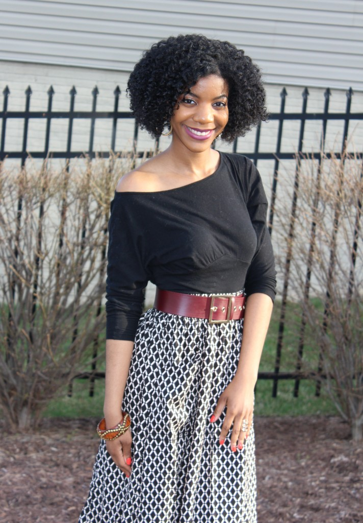 kasi perkins, the style perk, Easter, 2015, black off the shoulder shirt, A-line midi skrt, brown waist belt, Zara heels, Snakeskin sandals, natural hair, twist out, photography, girl, blogger, black blogger, dc blogger, spring, spring fashion