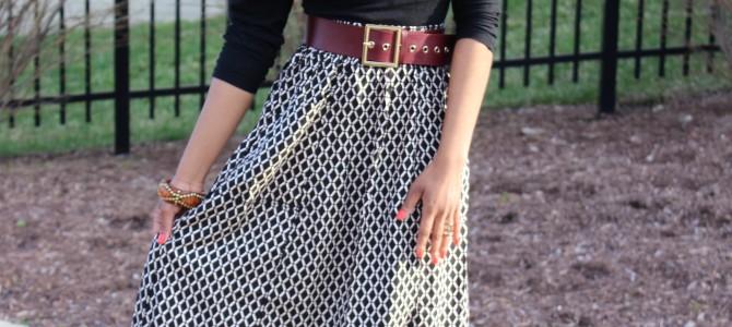 Midi Skirt + Mixed Prints