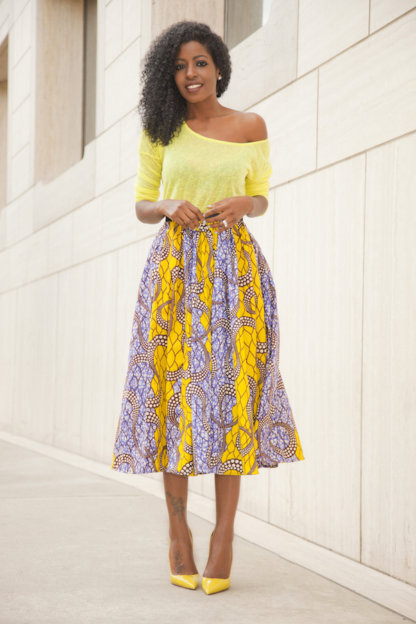 http://stylepantry.com/2015/03/04/neon-yellow-blouse-ankara-print-midi-skirt/
