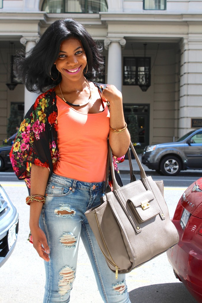 ripped denim, ripped jeans, distressed denim, distressed jeans, floral kimono, spring, spring fashion, fashion blogger, the style perk, kasi perkins, dc, street style, black blogger, dc blogger, bloggers like me, brown girl bloggers, natural hair, black hair