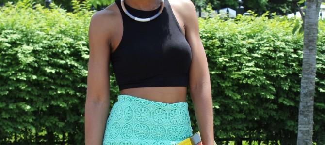 Black Crop Top + Mint Green Lace Skirt