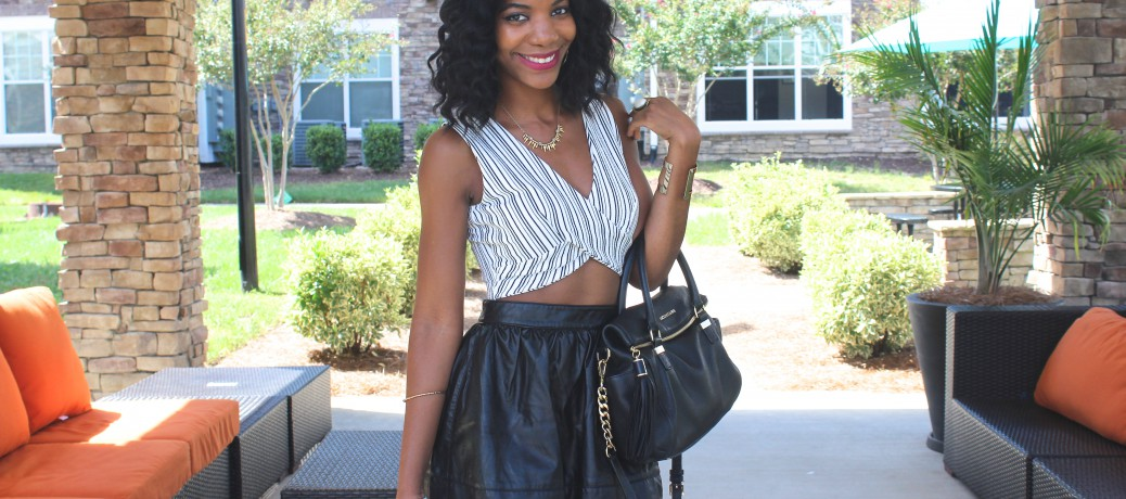 Black and White Crop Top + Black Faux Leather Skirt