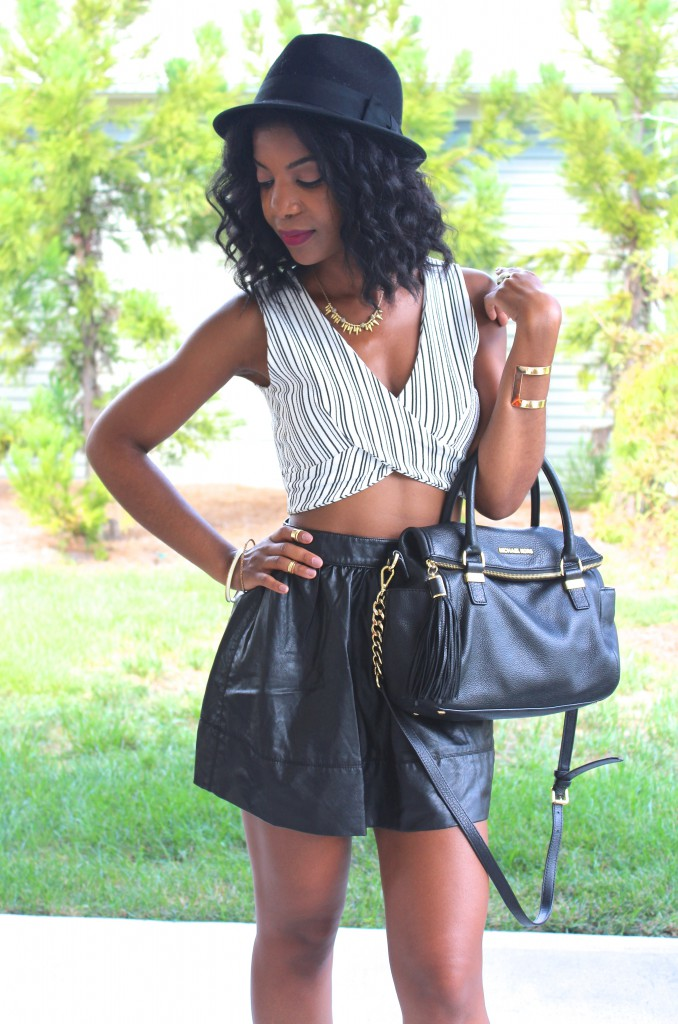 black and white crop top, black faux leather skater skirt, black hat, black fedora, black Michael Kors purse, gold accessories, natural hair, kasi perkins, the style perk, black blogger, dc blogger