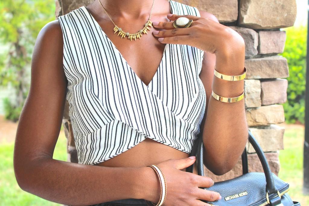black and white crop top, black faux leather skater skirt, black hat, black fedora, black Michael Kors purse, gold accessories, natural hair, kasi perkins, the style perk, black blogger, dc blogger