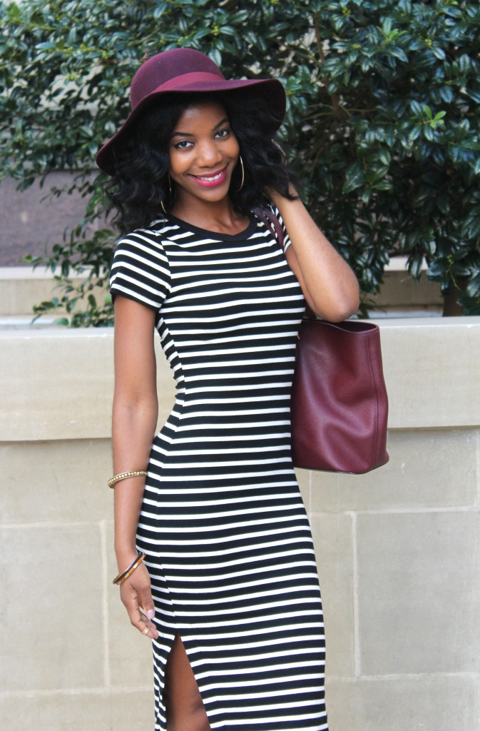 fall, fall fashion, striped midi dress, floppy hat, fedora, fall hat, natural hair