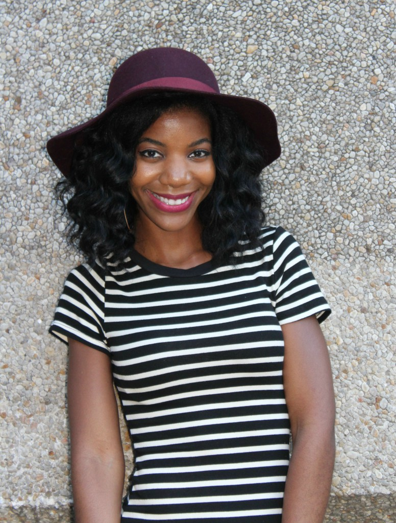 fall, fall fashion, striped midi dress, floppy hat, fedora, fall hat, natural hair