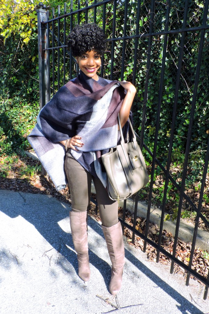 thestyleperk, fall poncho, winter poncho, cape, blanket scarf, olive, hm, blogger, black blogger, dc blogger, dmv blogger, olive jeans, olive pants, over the knee boots, natural hair, natural hair style, natural undo, kasi perkins