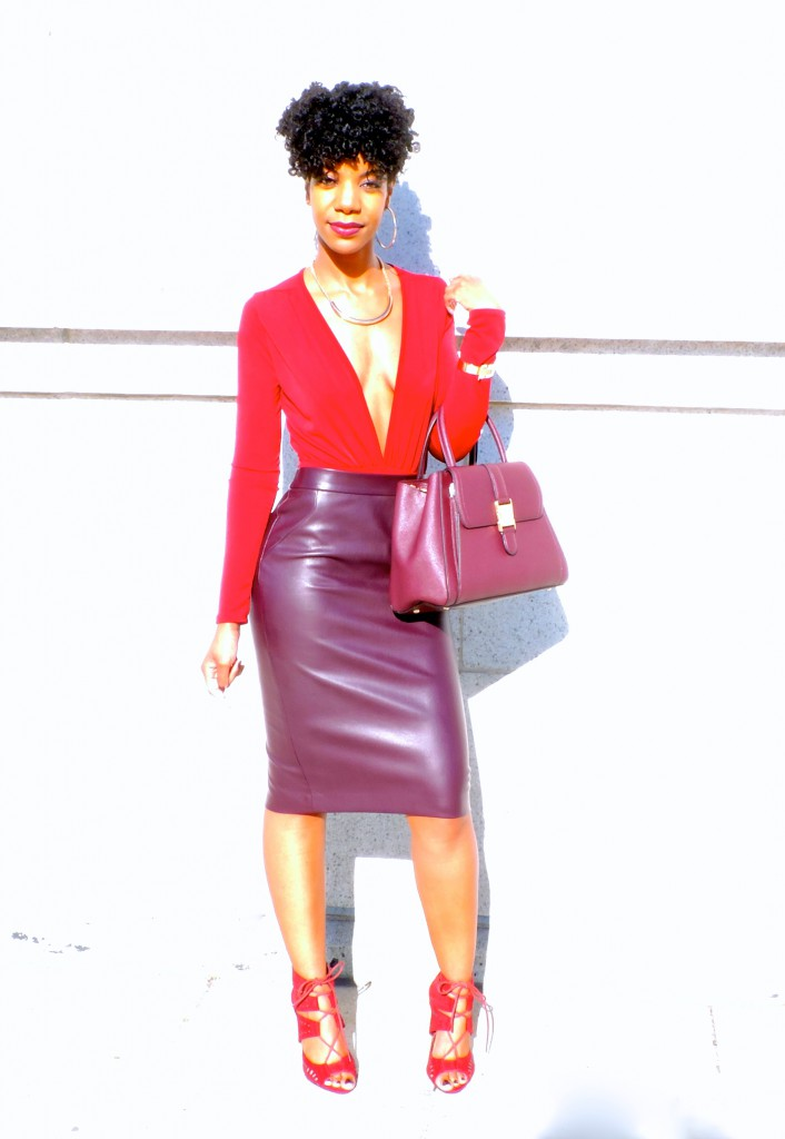 burgundy monochrome outfit, wine monochrome outfit, camel coat, kasi perkins, the style perk, natural hair, blogger, fashion blogger, black blogger, dc blogger