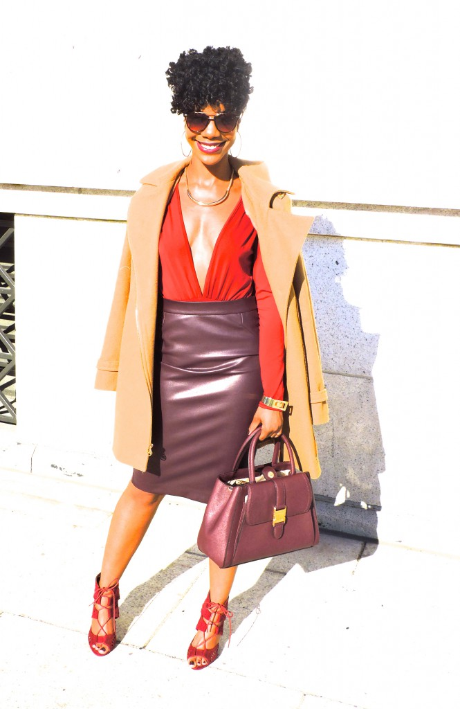 burgundy, monochrome, camel coat, wine, burgundy shoes, fashion blogger, dc blogger, the style perk, kasiperkins, natural hair. holiday party outfit inspiration