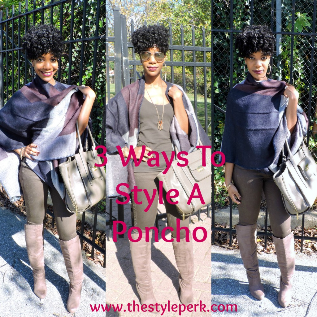 hestyleperk, fall poncho, winter poncho, cape, blanket scarf, olive, hm, blogger, black blogger, dc blogger, dmv blogger, olive jeans, olive pants, over the knee boots, natural hair, natural hair style, natural undo, kasi perkins