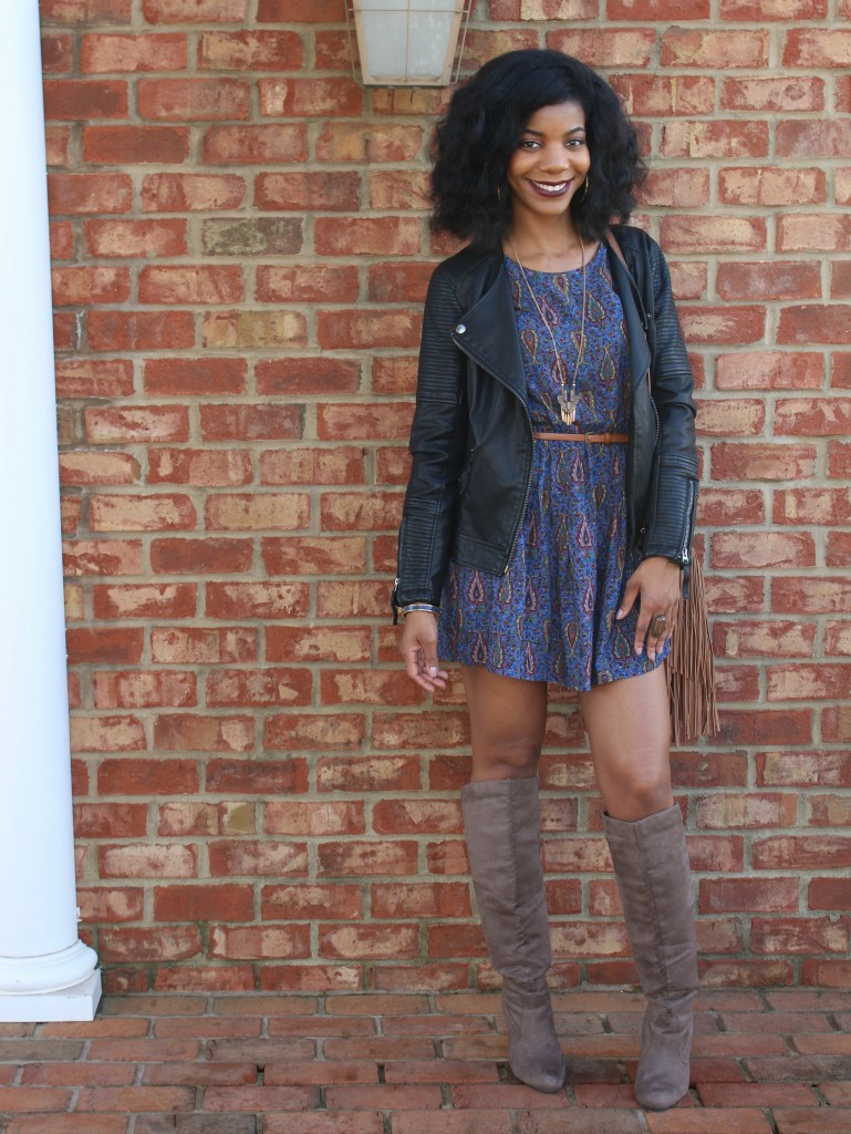 kasi perkins, boho paisley print dress, belted dress, fringe purse, knee high boots, vegan leather jacket