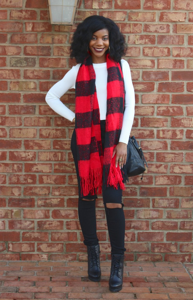 red plaid scarf, faux leather jacket, bucket tote, black ripped jeans, white crop top, black booties, black boots, natural hair