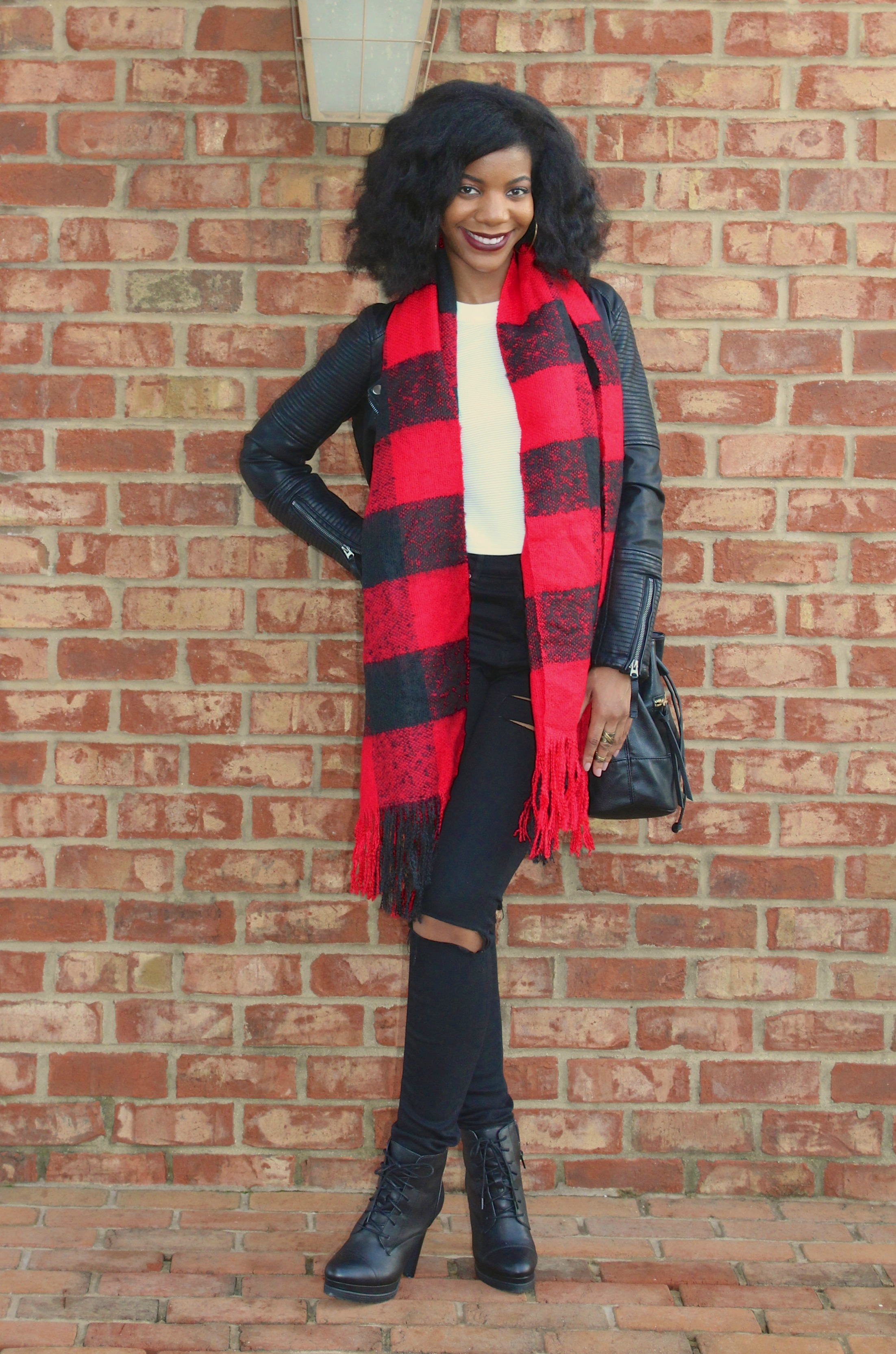 Red and black plaid leather jacket