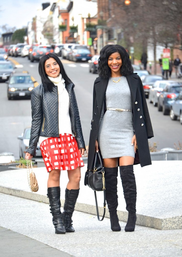 over the knee boots, OTK boots, tall boots, knee high boots, sweater dress, long line coat, gray sweater dress, black OTK boots, black over the knee boots, leather jacket