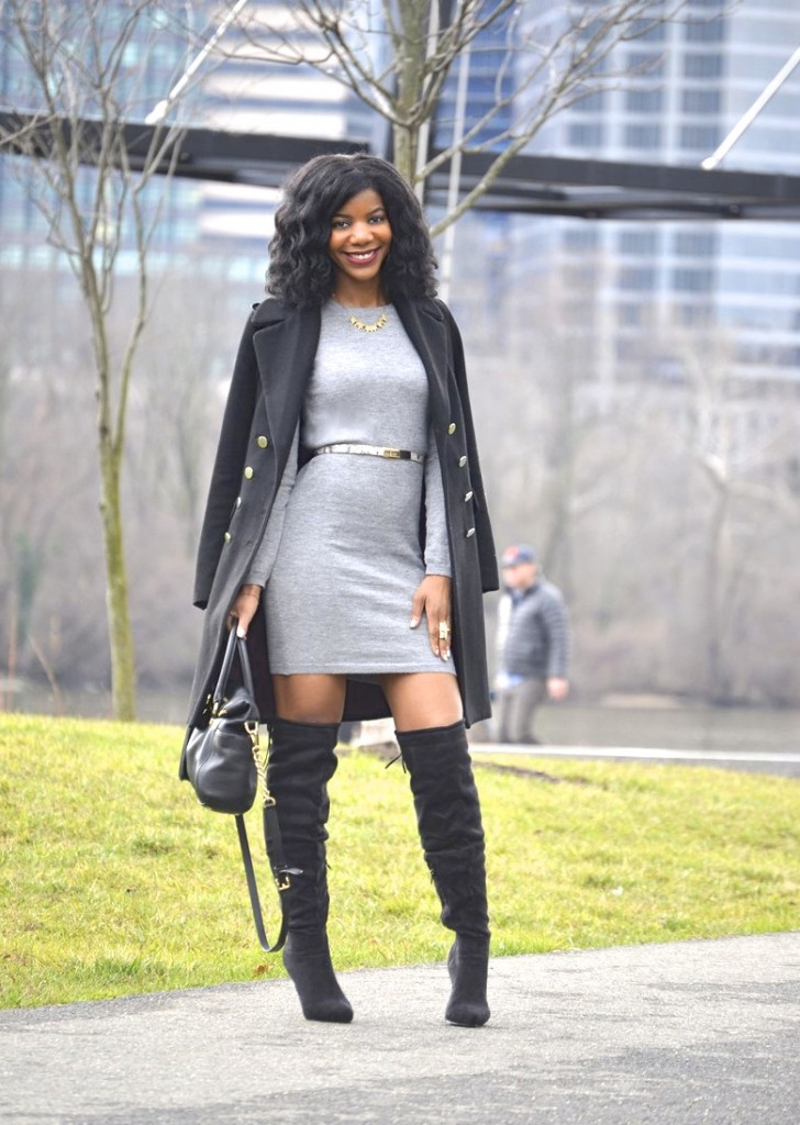 over the knee boots, OTK boots, tall boots,  sweater dress, long line coat, gray sweater dress, black OTK boots, black over the knee boots