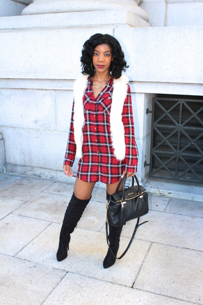 red plaid shirtdress, shirtdress, over the knee boots, otk boots, white fur vest, black otk boots, black chain purse