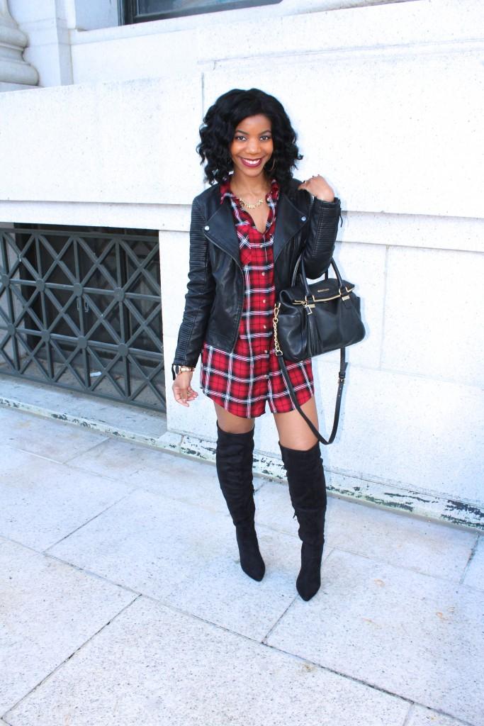 red plaid shirtdress, shirtdress, over the knee boots, otk boots, white fur vest, black otk boots, black chain purse
