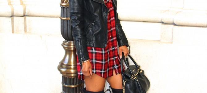 Fall/Winter Style: Plaid Shirtdress + OTK Boots