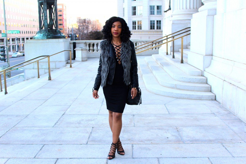 black lace up dress, leather jacket, faux fur vest, going out outfit
