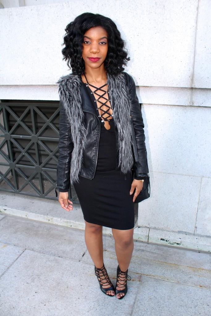 black lace up dress, leather jacket, faux fur vest, going out outfit