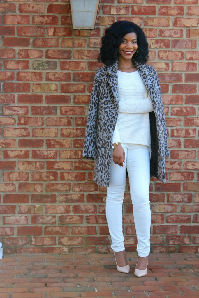 kasi perkins, winter white outfit, white sweater, white pants, nude pumps, fringe purse, leopard print coat