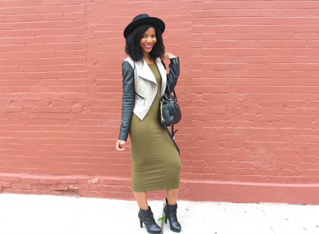 olive green midi dress, black booties, leather jacket, black wide brim fedora