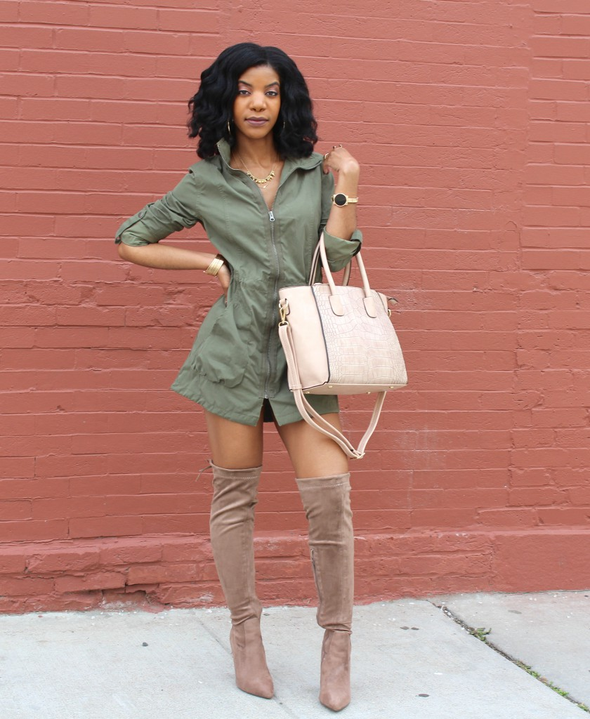 green trench coat, military jacket, taupe OTK boots, cream purse