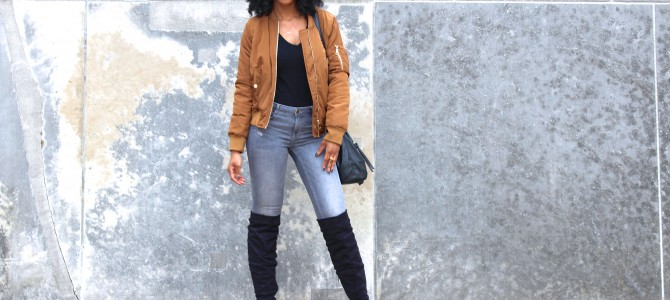 Fall/Winter Style: Coffee Bomber Jacket + Gray Jeans + OTK Boots