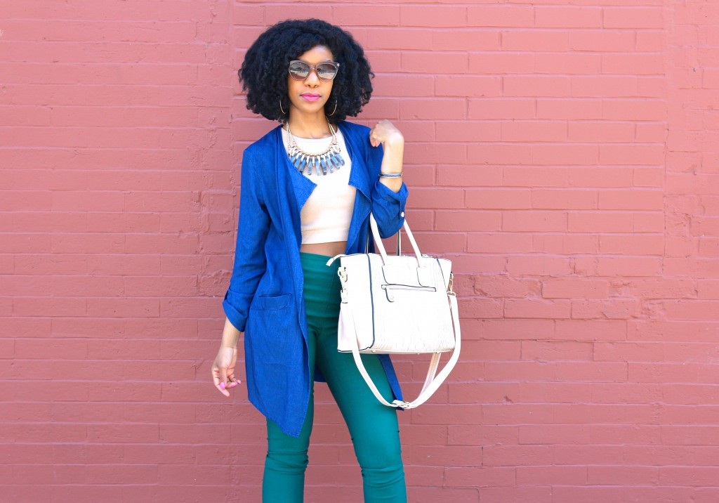 blue denim kimono jacket, tan crop top, green fitted cropped pants, statement necklace, tan open toe booties, spring outfit