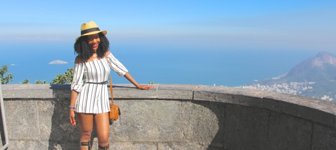 Brazil Travel Style: White and Black Striped Romper
