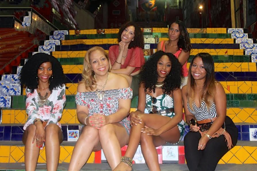 black girls who travel, escalaria selaron, brown girls who travel, group photo, travel, travel group, things to do in Rio de Janeiro, Brazil