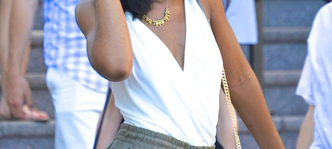 Summer Style: Off White Body Suit + Olive Green Joggers