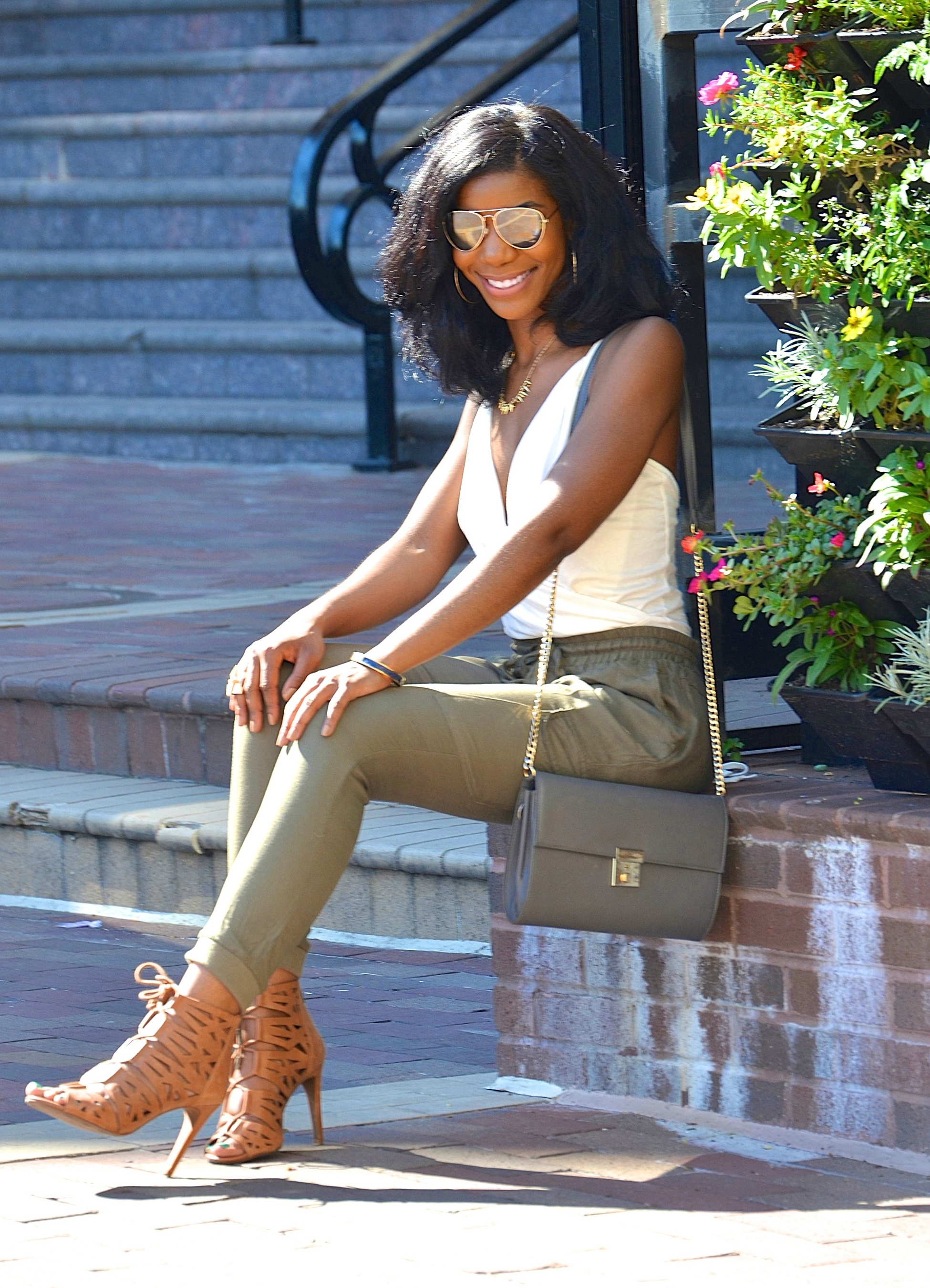 Summer Style Off White Body Suit Olive Green Joggers The Style Perk