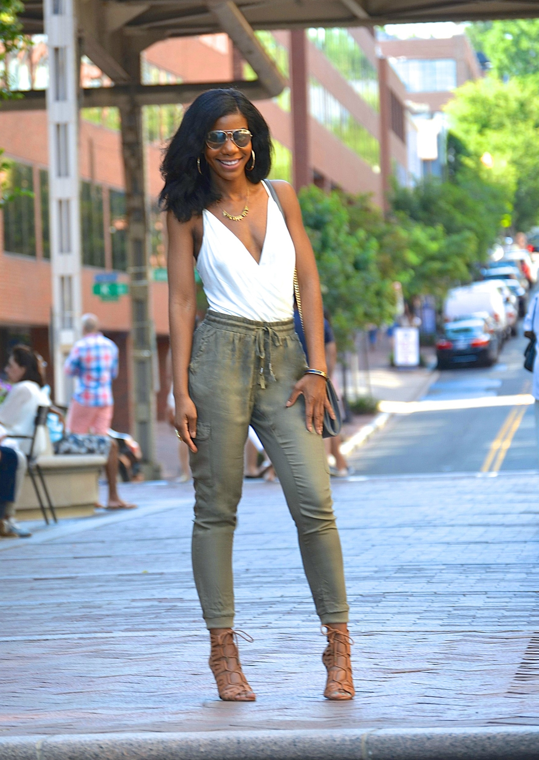 df451101e6 Summer Style  Off White Body Suit + Olive Green Joggers – The Style Perk