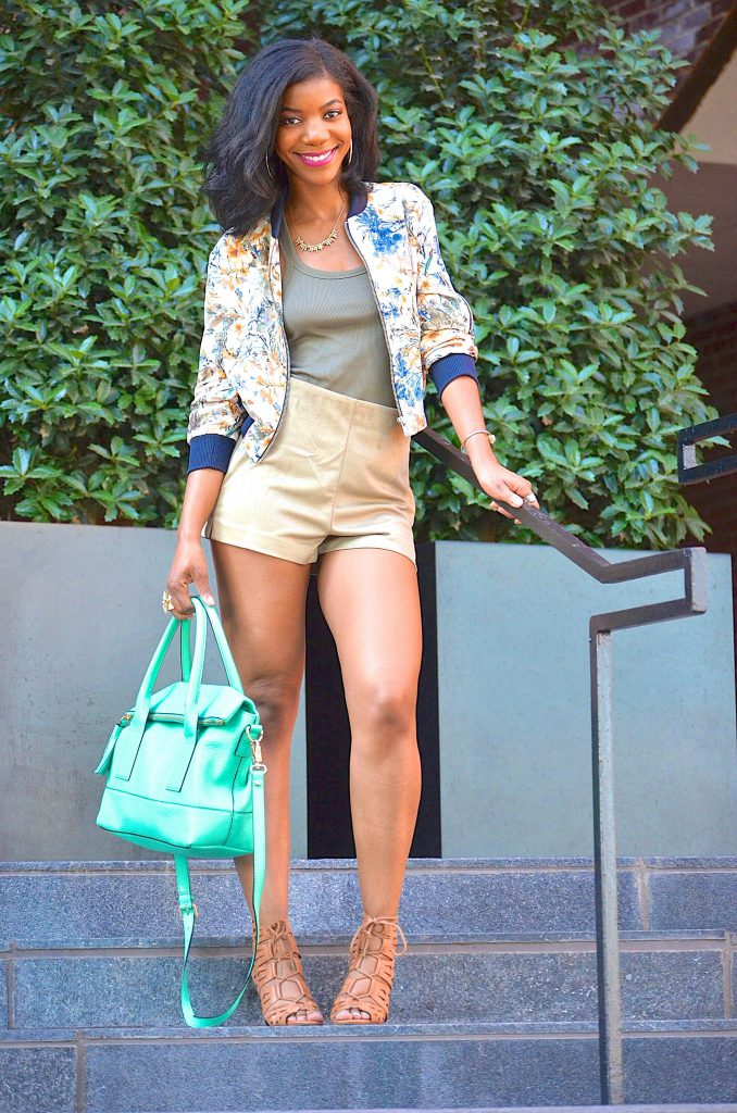 Zara floral print bomber jacket, Zara suede high waisted shorts, Zara ribbed tank top, Kate Spade mint green purse