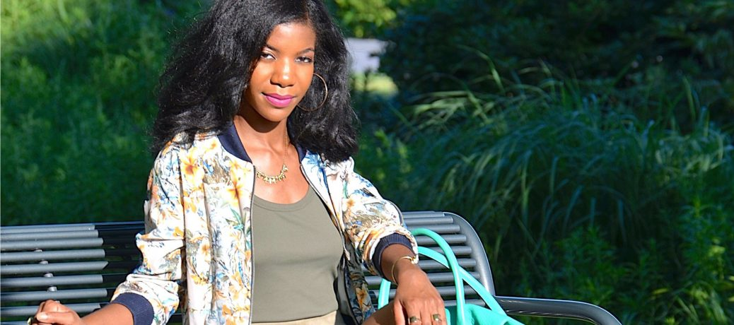 Summer Style: Floral Print Bomber Jacket and High Waisted Suede Shorts