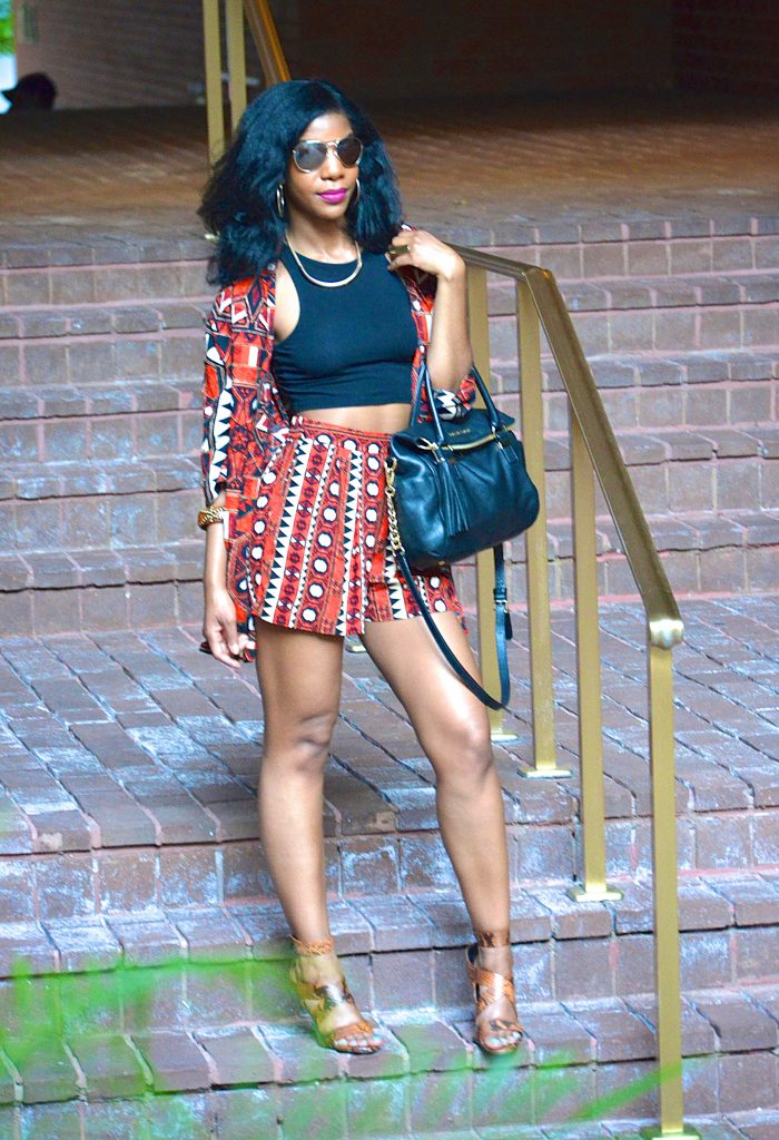 tribal print kimono jacket, tribal print shorts, black crop top, Zara snakeskin print sandals