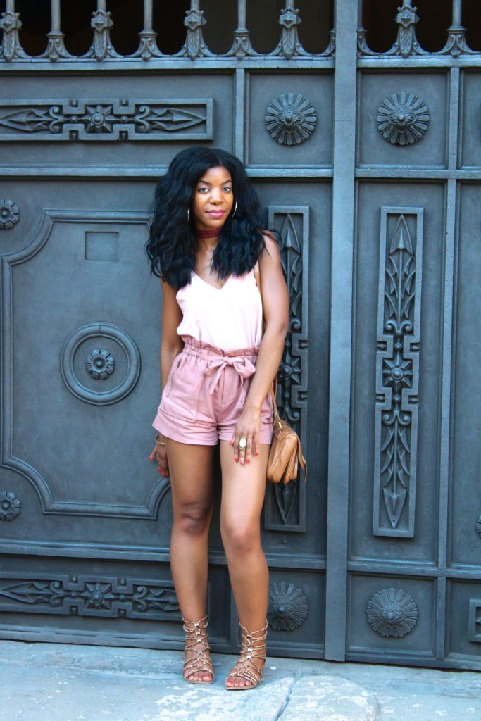 topshop pink top, forever 21 pink tie waist shorts, pink choker, monochrome pink outfit, Barcelona