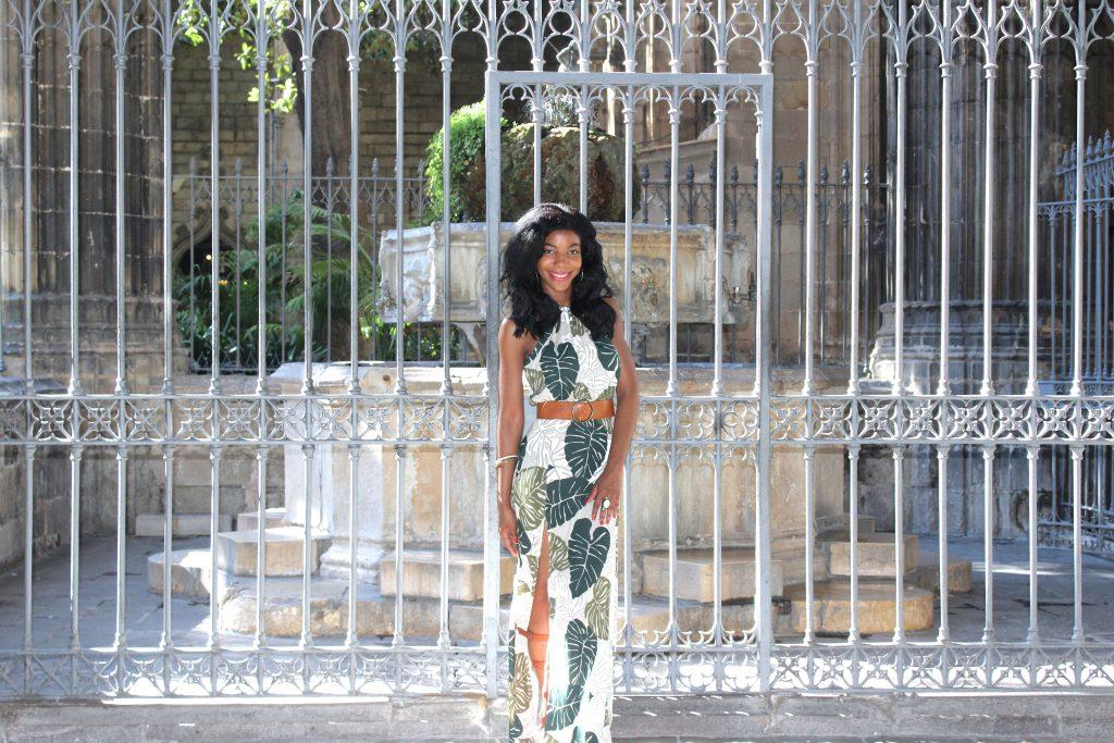 boohoo palm leaf print m slit maxi dress, tan waist belt, tan knee high gladiator sandals, Barcelona, Cathedral, Spain