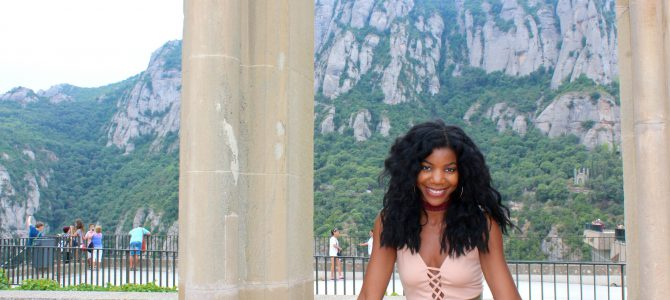 Barcelona Travel Style: Nude Bodysuit + Olive High Waist Shorts