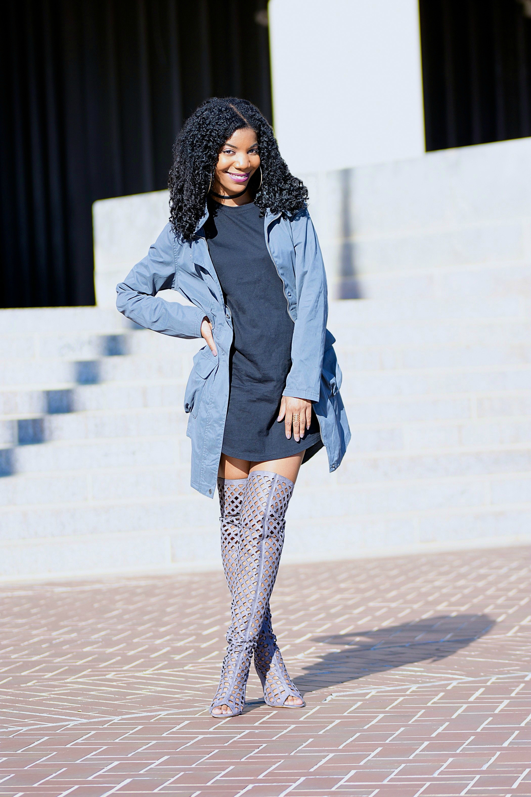 Fall Style: Gray Military Jacket + Black T-Shirt Dress ...