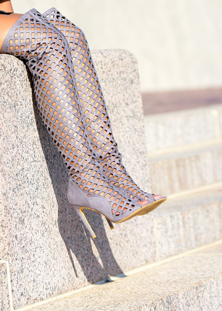 gray amiclubwear thigh high cutout boots
