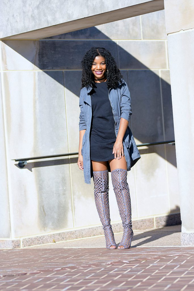 gray target military jacket, gray amiclubwear thigh high cutout boots, black forever21 tshirt dress, black forever 21 choker